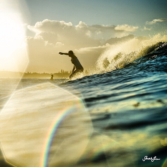 Dreaming of warm waters.  #throwback #byronbay #surf #goldenhour #sarahleephoto
