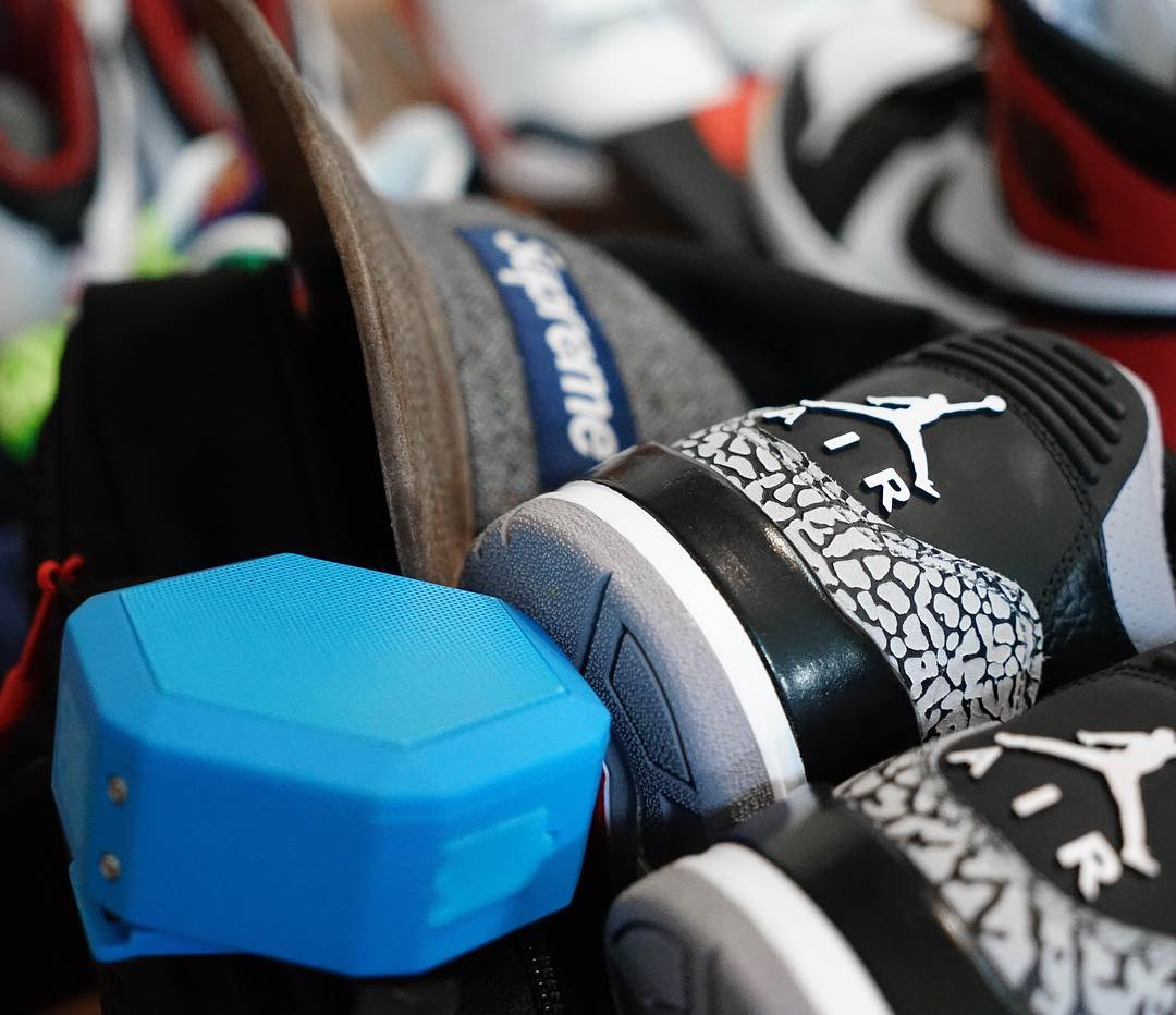 What's in your duffle? #boombotix  #sneakerhead #boombotix #jordansdaily #essential #portablespeaker
