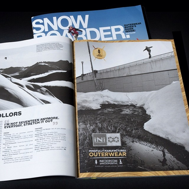 Check out the #JeffHopkins @lilhefe ad in the new issue of @snowboardermag that hit news-stands this week. Worth going to grab a copy as it contains the Snow14 #Outerwear buyers guide that you def. want to check out! #Snowboarding #BridgeJib #ShopLocal...