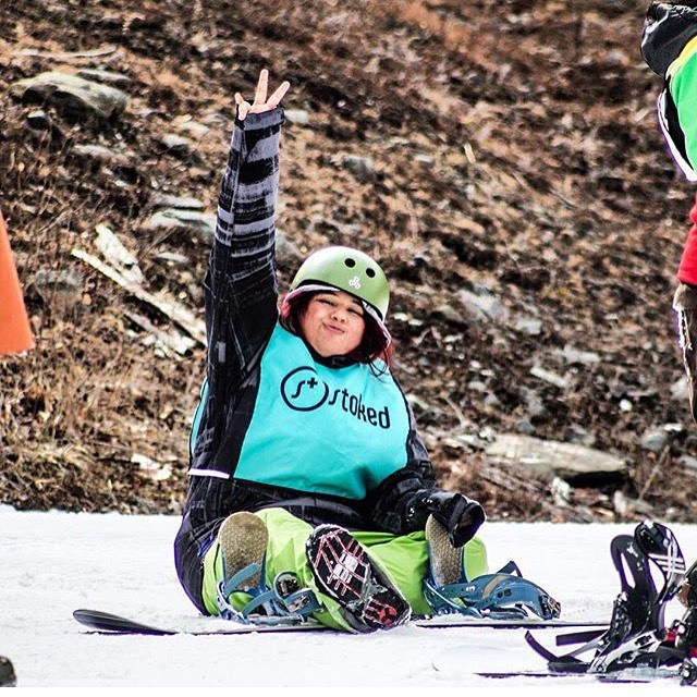 Thanks to @sharastranov for this photo capturing the STOKED spirit! #stokedsnowboarding