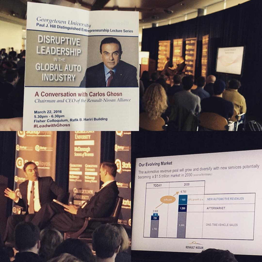 Disruptive leadership in the global auto industry with CEO of the Renault-Nissan Alliance and @hoyapreneur #LeadwithGhosn #nissan #renault #startuphoyas #georgetown