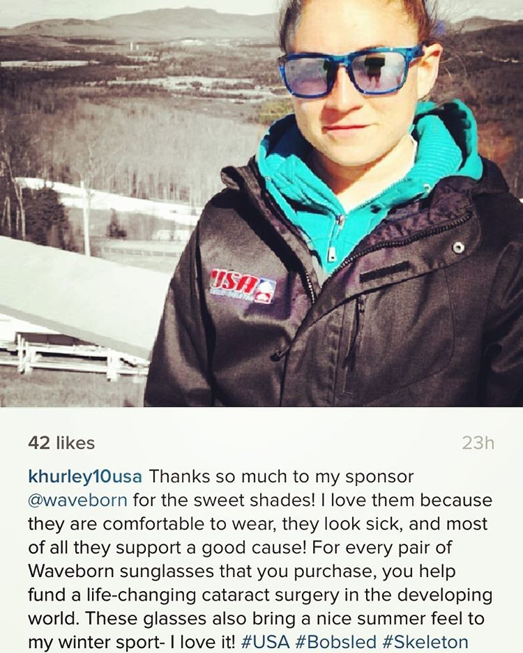 Waveborn is proud to sponsor Team #USA athletes like @khurley10usa to protect their eyes and #givesight to others in need via @seeintl #waveborn #wcw #bobsled #findthesun