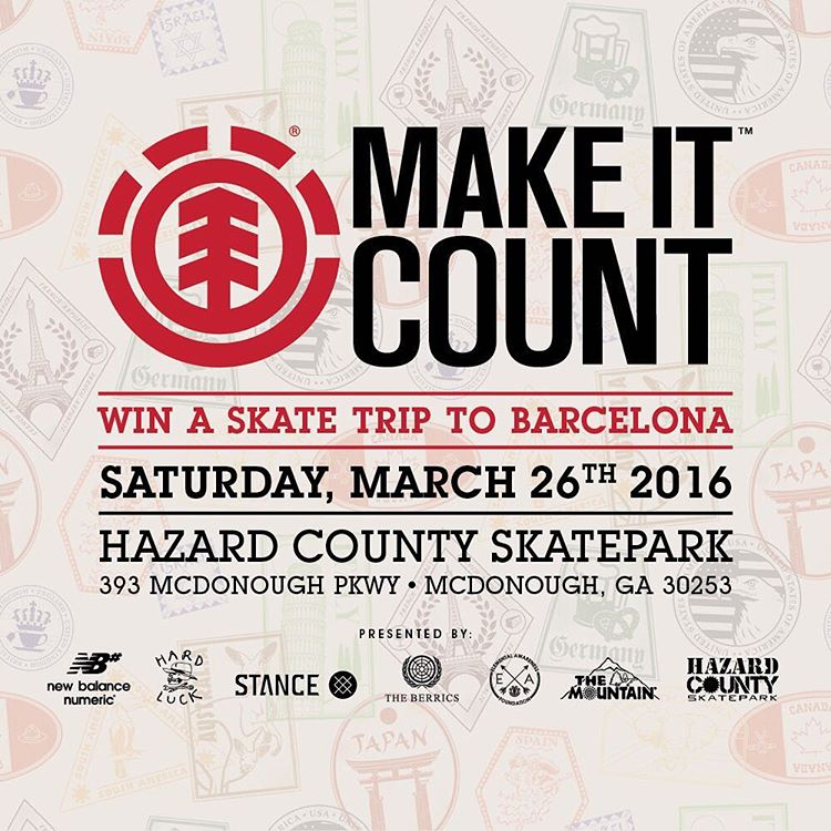 Join us THIS SATURDAY for an #ElementMakeItCount contest at @hazardcountyskatepark near Atlanta, Georgia! Enter for a chance to compete in the regional finals and a shot at an all expenses paid skate trip to Barcelona Spain! Registration at 1pm,...