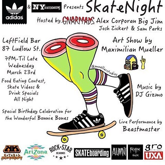 @adidasskateboarding & @nyskateboarding presents #SKATENIGHTNYC Hosted by @gnarmads @peanut186 @dfcnyc43 @jzradical & @_samparks_ TONIGHT at @leftfieldonludlow from 7pm- Til Late. There will be a Food Eating Contest, Skate Videos, Drink Specials All...