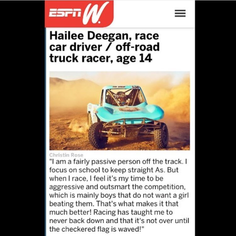 @hailiedeegan538 in the #ESPN mag . Imagine if a girl was able to win at #Nascar .  Hmmmm we will see.