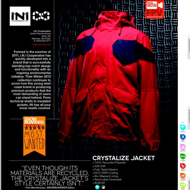 #Winter is right around the corner and @snowboardermag just dropped their 2014 #OuterwearBuyersGuide . Marked as a #SnowboarderMags 'Most Wanted' the 20k #CrystalizeJacket is everything you need and made from 100% #Recycled Polyester. #Snowboarding...