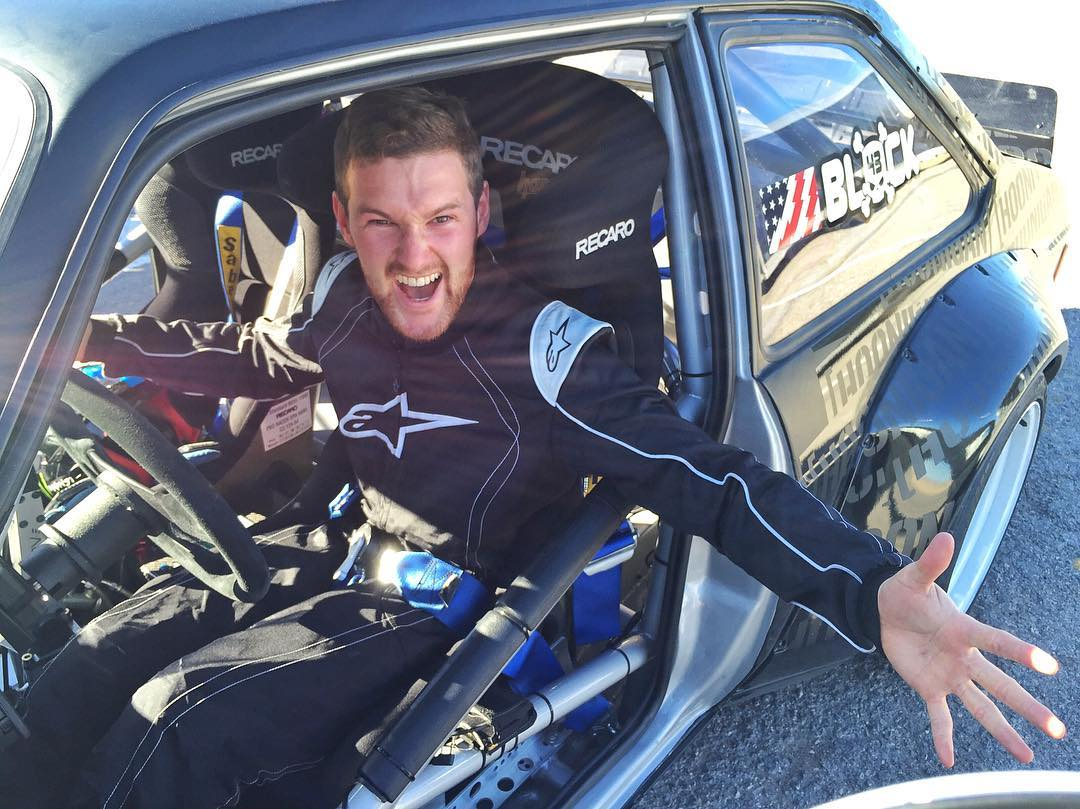 "This is @AndreasBakkerud's ""I'm about to drive the #GymkhanaEscort"" face. His favorite car in the world is a Ford Escort Mk2. So between this and his practice time in my Ford Fiesta RX43, he was all smiles yesterday! #perksofthejob #rigoroustraining..."
