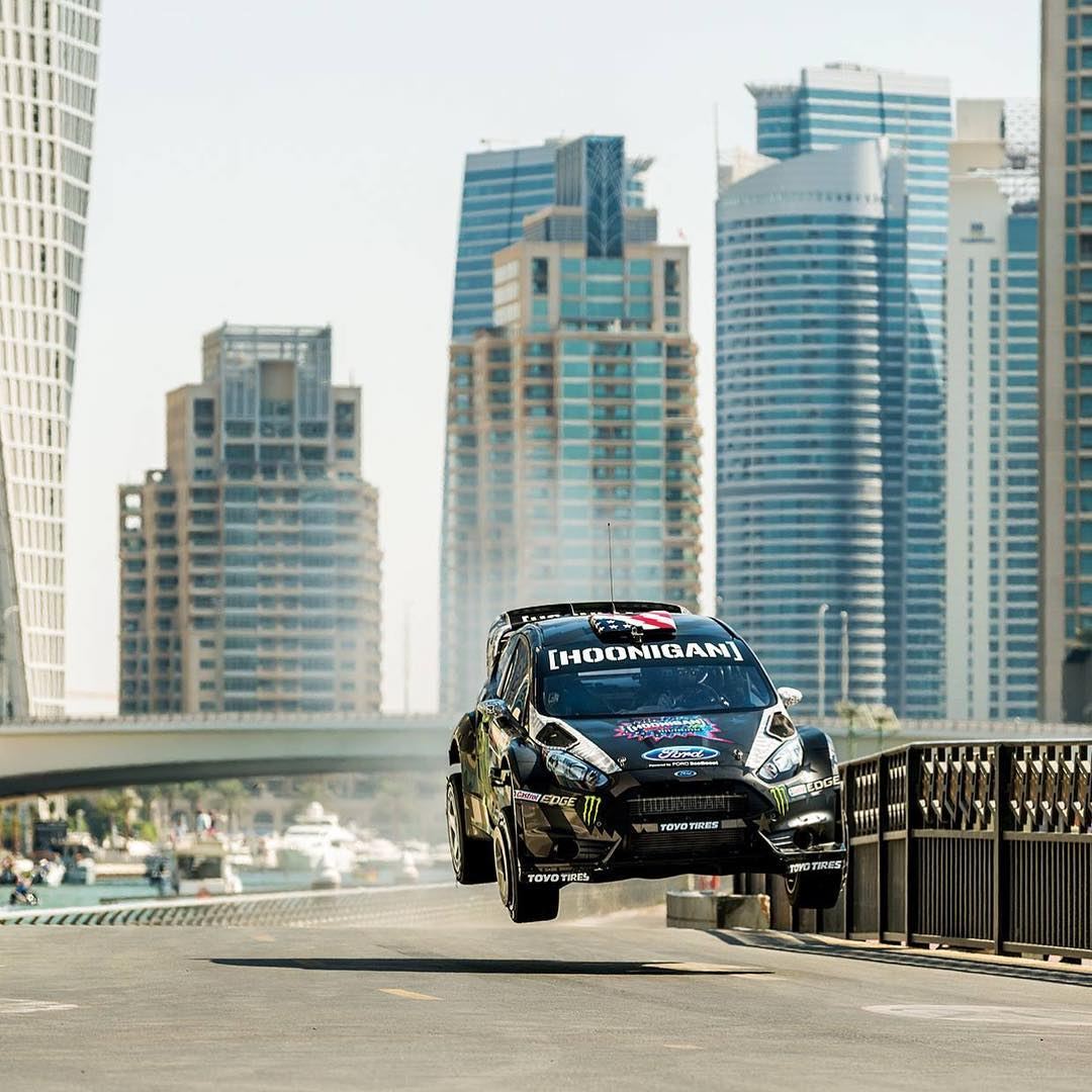 #TBT: fun little natural jump at the Skydive Dubai facility from #GymkhanaEIGHT. If you haven't seen GymkhanaEIGHT yet, click the link in my profile. Photo by @blabacphoto. #airtime #SkyDiveDubai #Dubai #FordFiesta