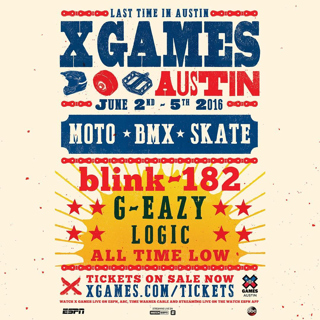 #XGames Austin Music • @AllTimeLow • @blink182 • @G_Eazy • @Logic301  It's goin' down June 2-5!