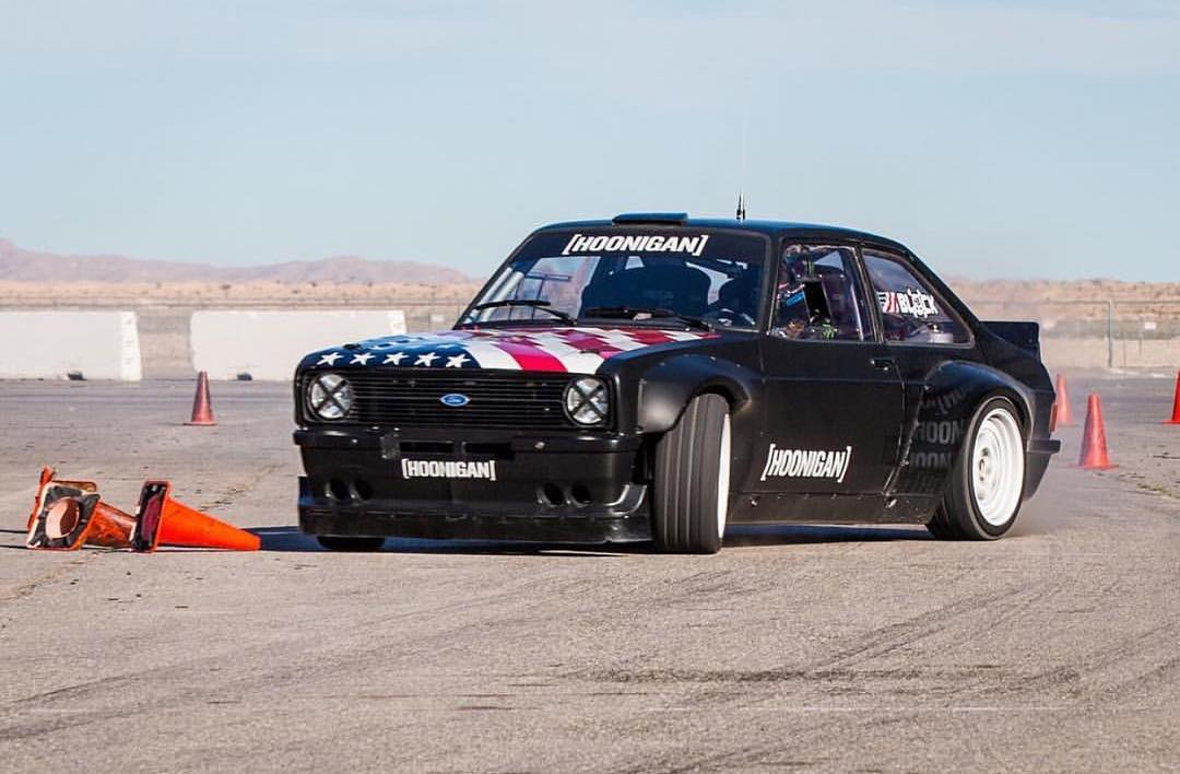 HHIC @kblock43 throwin down some test laps in the #GymkhanaEscort. Who wants to see some burnies from this thing?