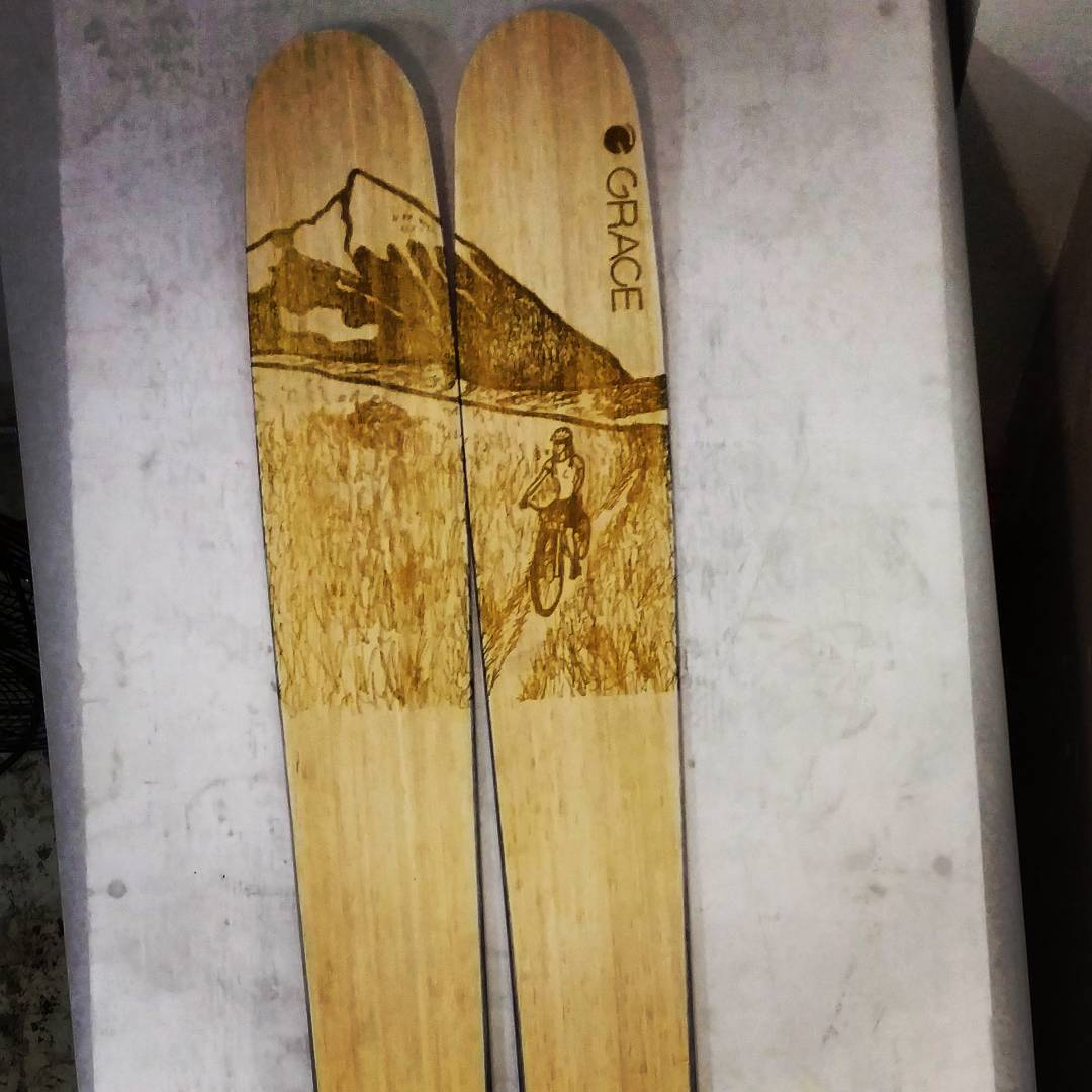176 bullets heading to Created Butte... Hope their new owner @alexriedman loves them as much as us... @huntfishski did this hand drawn pen and ink graphic and we afterburned it onto a perfect all mountain pow shredding machine! #skiart #sketchbook...