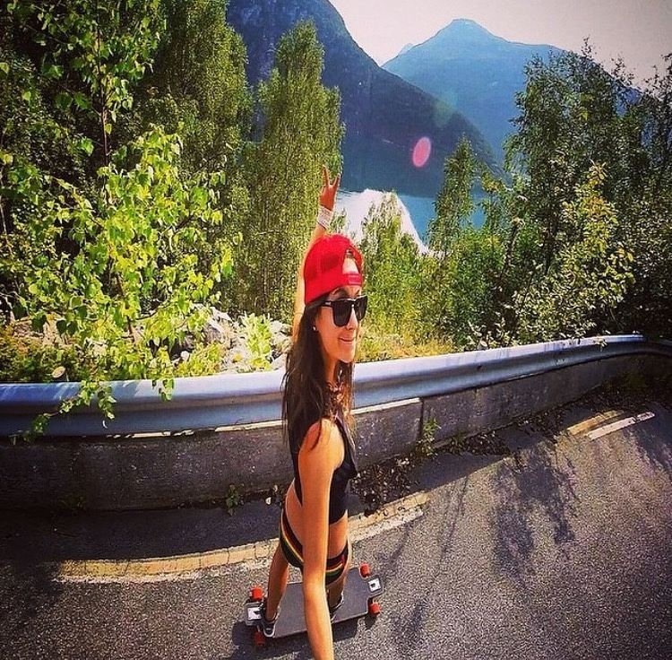 Reminiscing… || #fbf with a skateboarding @insta_susi in our Striped Boyshorts || #getoutthere #flashback #tgif #skatergirl