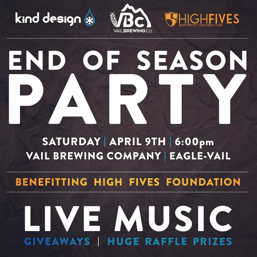 Join us!  We are throwing a little party with @vailbrewingco closing weekend in Vail, Saturday, April 9th at 6pm, raising money for @hi5sfoundation - live music - lots of giveaways - raffling off some skis, art prints, and more.  Everyone is welcome......
