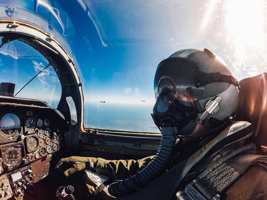 "Photo of the Day! ""@zdzeman12, you are cleared for a #selfie."" Zack Zeman snaps a quick one while flying a T-38 Fighter during a training mission. Share your favorite #aviation content with us"