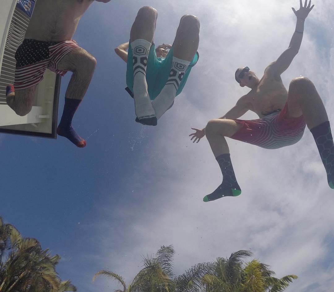 We call this big #air @blondeandabackpack #splash #grabapair #gopro #weekend #fun #poolparty