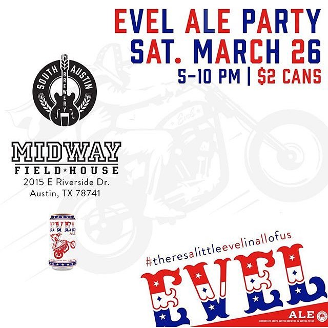 Evel Ale Party today 5-10pm at @midwayfieldhouse with @southaustinbrewery. Grab a $2 beer and check out @blvdart and @zuzubee live painting • #spratx #austintx #southaustinbrewery #evel #atx #livepainting #mural #supportlocalatx