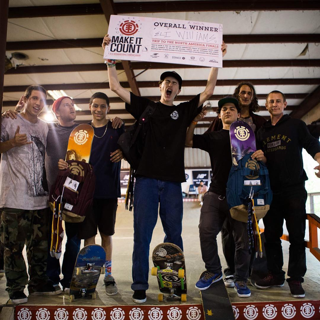 Congratulations to @eli_p_williams on winning today's #ElementMakeItCount contest at @HazardCountySkatepark outside of Atlanta, Georgia! He snagged himself a spot in the National Finals for a chance to win an all expenses paid skate trip to Barcelona,...
