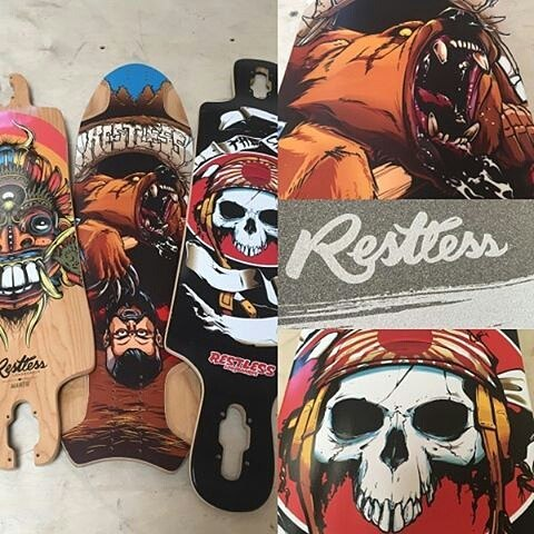 #Repost @muirskate ・・・ The 2016 @restlessboards graphics are looking pretty mean for 2016!  The lineup is now available at Muirskate.com!!
