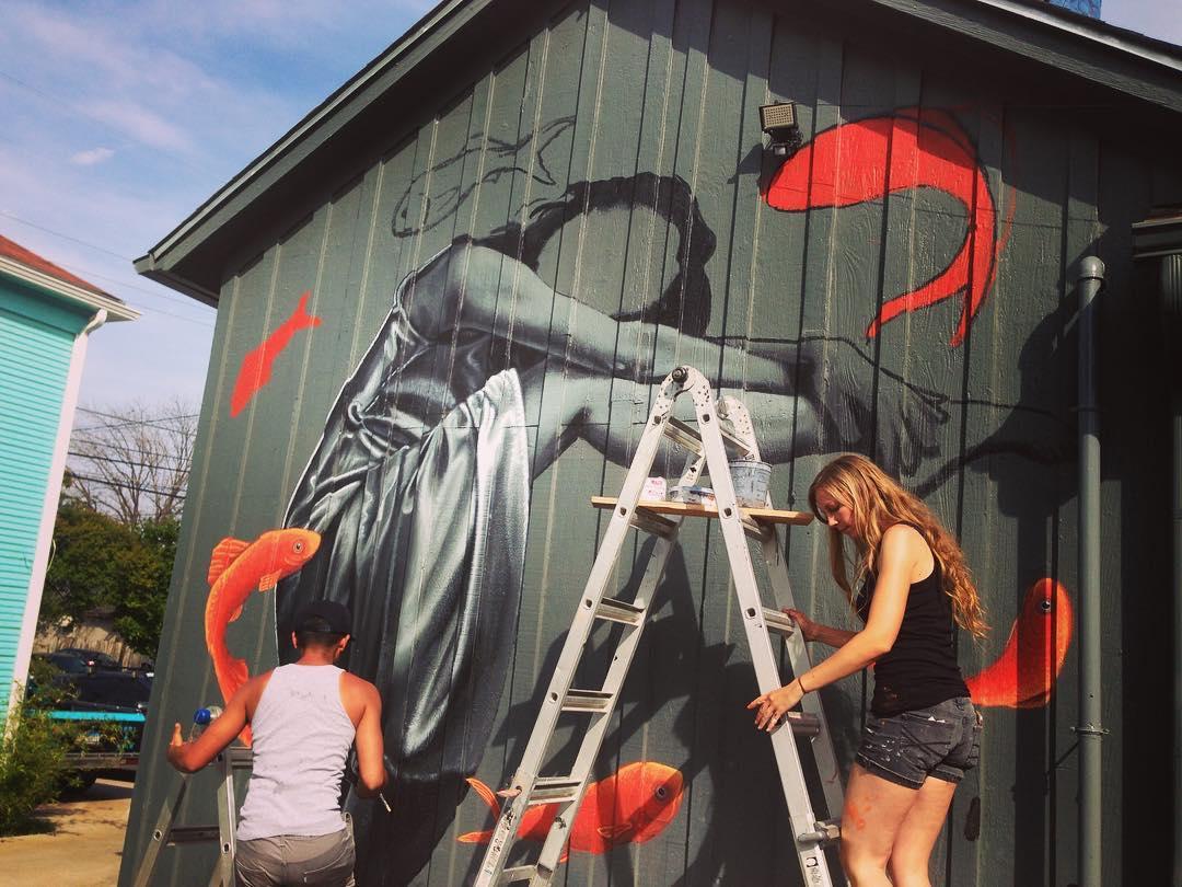 @seraphim_one & @leviponce • • In progress behind @cenoteaustin • • Chasing The Next Big Wall... #atx #austintx #texas #tx #spratx #texas #murals #art