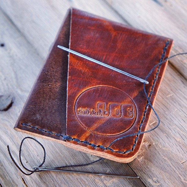 Hand-stitched card wallet. Super slim for a better fit. Only $40, get yours at www.naturallogskate.com #leather #wallet #handmade in #california #usa #madeinusa #skinnyjeans #skate #skateboards