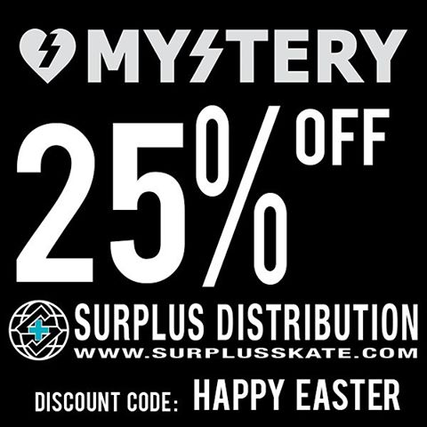 Log onto @surplusskate and use discount code: HAPPY EASTER at check out to get 25% off your entire order. Valid thru 03/28/16 #mystery4life