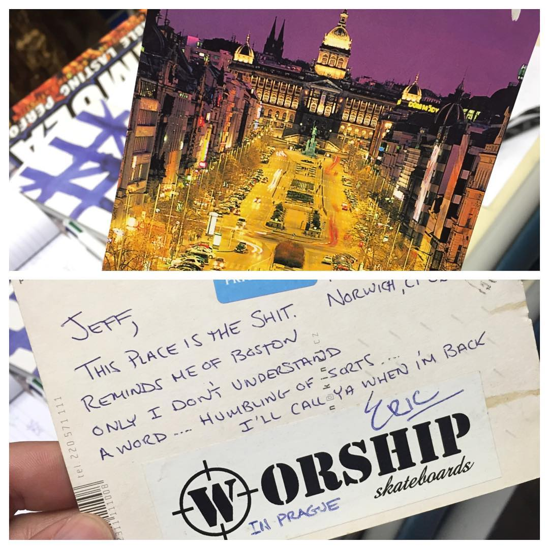 We love our friends. #worldtraveler @ericwal78 #praha #postcard #contest   Send us a postcard... Best one gets a package. Mail to: Worship skateboards Po Box 1034 Norwich Ct 06360. Contest ends April 28th.... it can be from anywhere !!!! Write your...