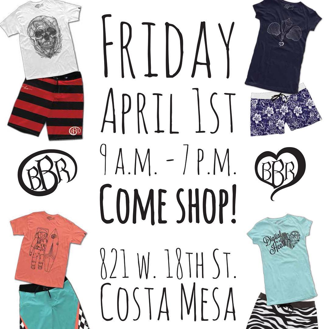 FRIDAY APRIL 1st from 9:00 am - 7:00 pm Warehouse/Sample Sale at Corporate Office: 821 W 18th Street Costa Mesa, CA 92627 www.bbrsurf.com  #bbr #bbrsurf #bbrsurfwear #buccaneerboardriders #warehousesale #samplesale #mens #womens #tshirts #boardshorts...