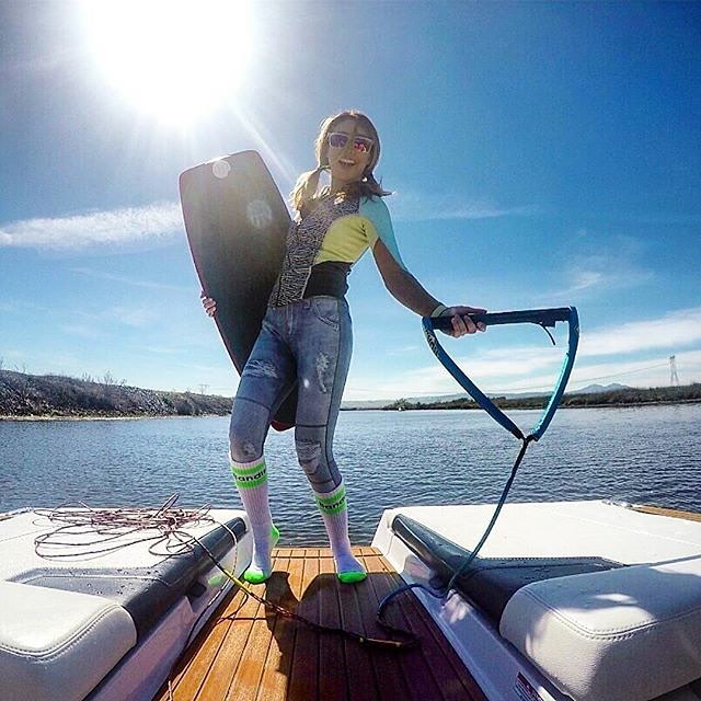The outlook on the #week is #sunny @gkapri #california #waves #water #wakeboard #actionsports #activewear #athleisure #spring
