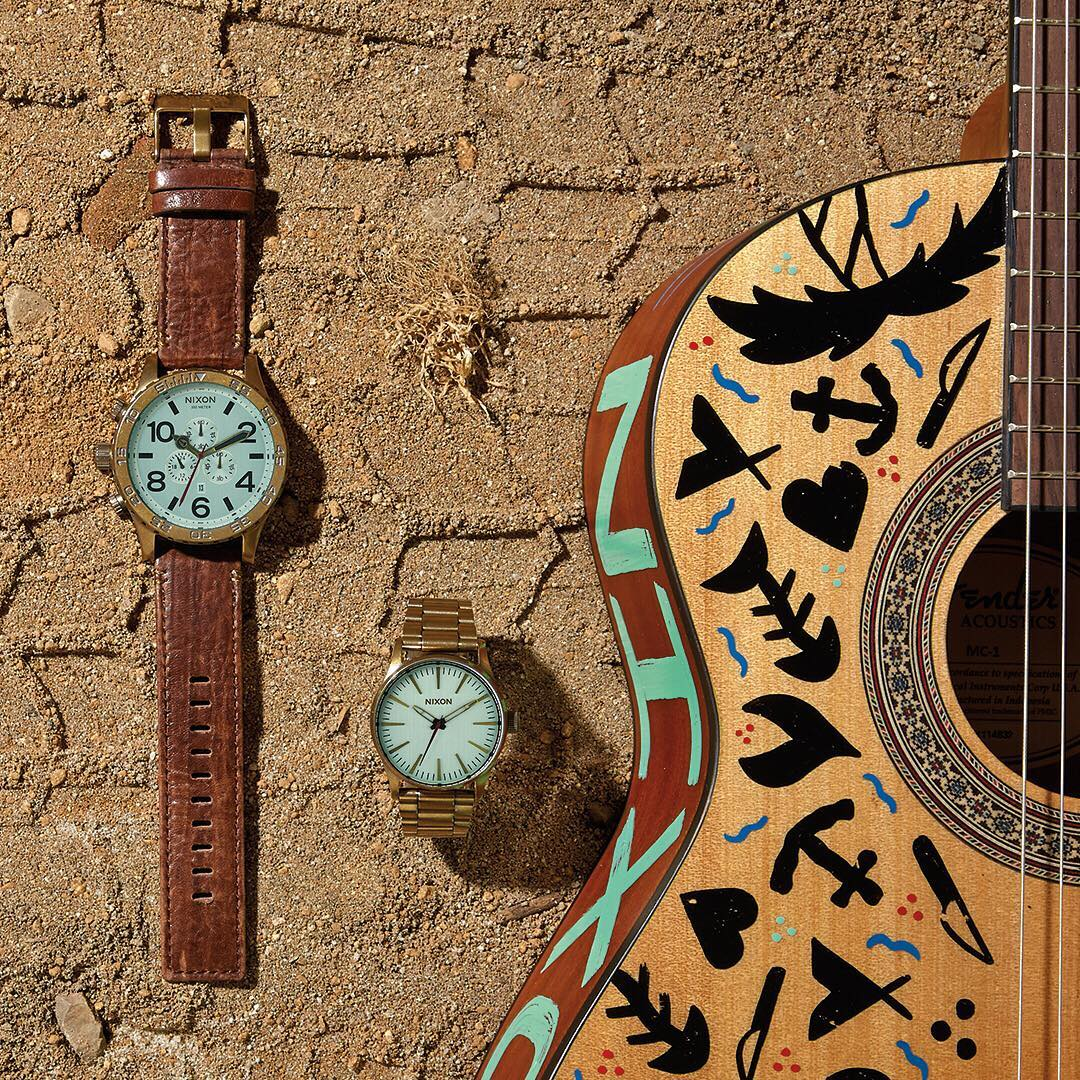 Southern Baja's empty deserts and beaches set the stage for the new Peninsula South Collection. Brass, leather, aqua crystals and original designs by @ornamentalconifer brought it to life. #Nixon #WasteNoTime