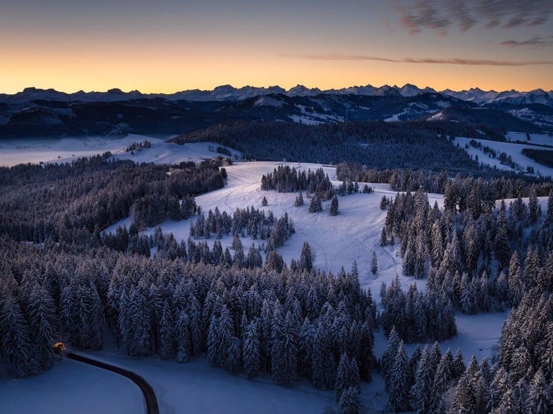 Winter sunrise in Schwyz, Switzerland  Credit: Gerry Pacher | #DJI #Inspire1Pro