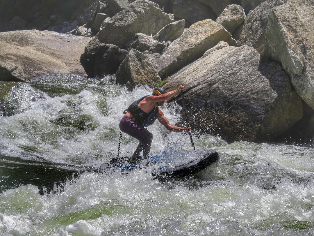 @royalblueobrien dropping into some serious whitewater on his #HalaAtcha.  The #HalaAtcha is one of the most stable and responsive whitewater inflatables on the market. Stability's a given for any whitewater board, but responsiveness is where the Atcha...