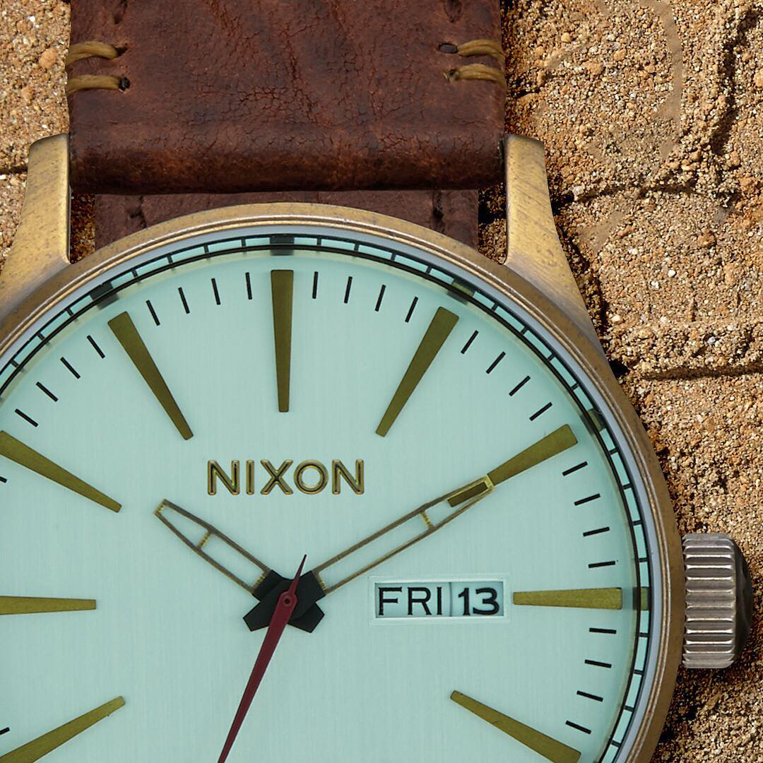 With aqua crystals and brass accents the Peninsula South's #SentryLeather provides a palette for Baja's vast colors. #Nixon #WasteNoTime