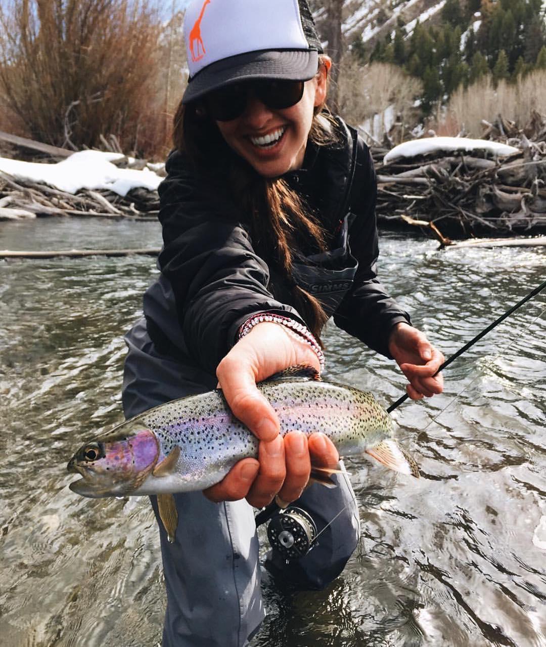 #Regram from @evarendle slaying a beautiful rainbow trout somewhere in Idaho. Anglers like to keep their fishin' holes hush hush. Thanks for reppin' the #girafficorn. #iamsj #SheJumps #girafficornnation #flyfishing #girlswhoflyfish #rivertherapy...