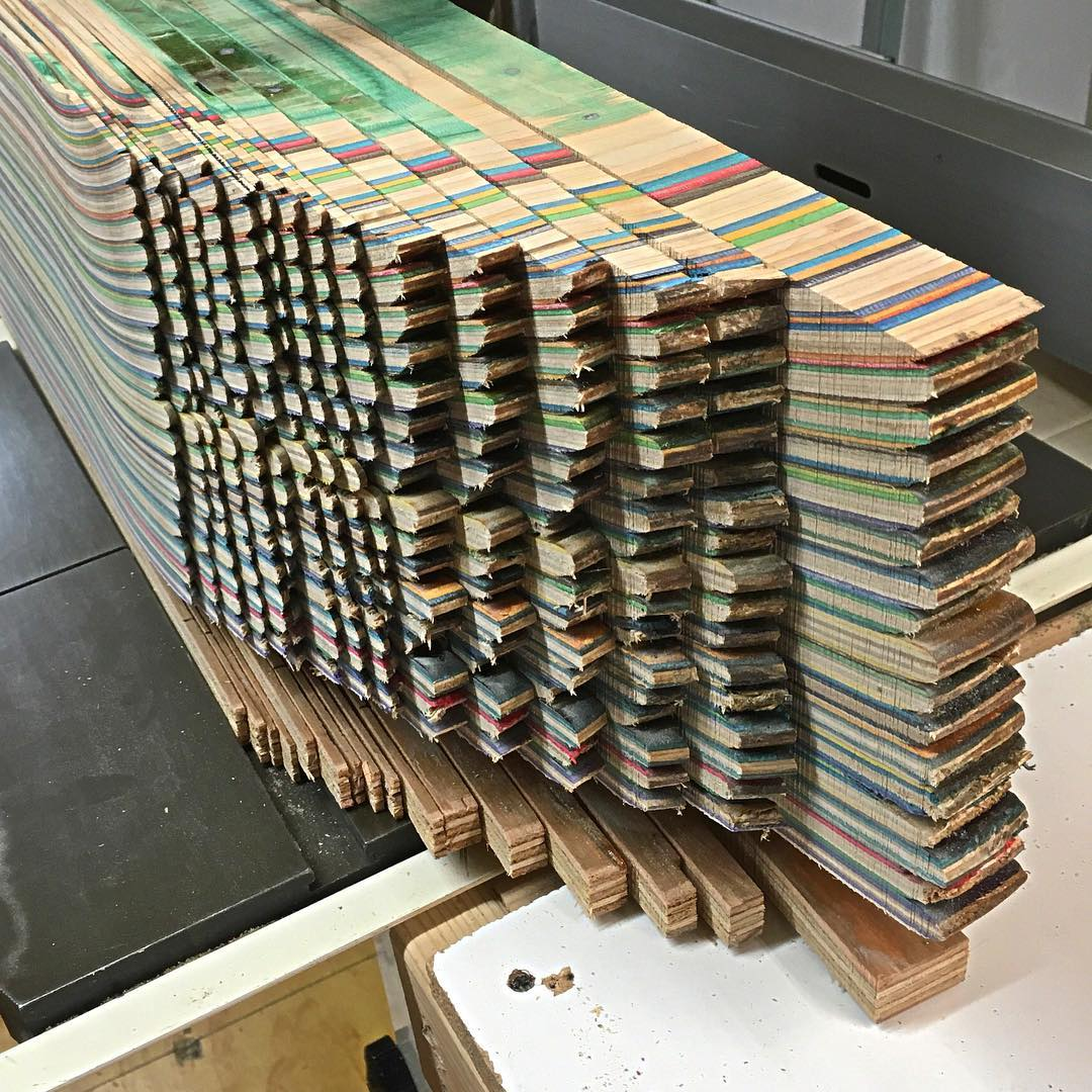 I'm always stoked to be cutting up more recycled skateboards to make more Iris skateboards, @iris_surfboards and tables! #recycledskateboards #irisskateboards #shoplifealldayeveryday #irissurfboards #iriswoodworks
