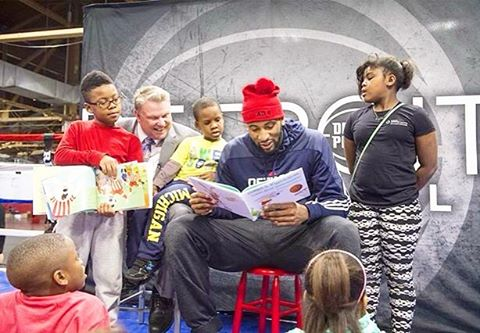 @detroitpistons @andredrummondd celebrating National Reading Month with kids from the Downtown Youth Boxing Program!!