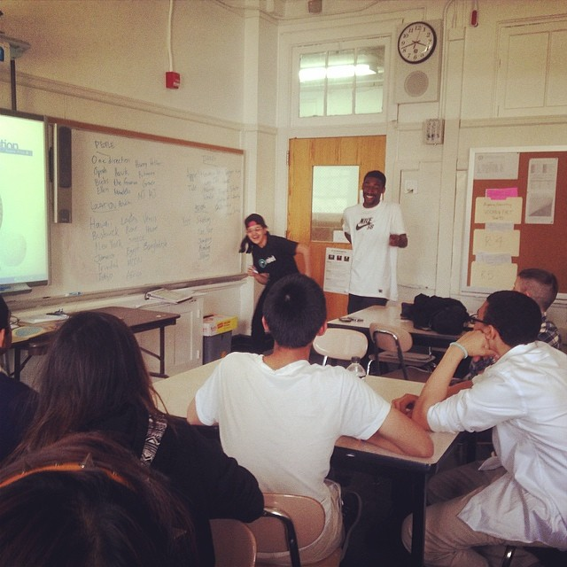 One of our #NYC schools got a special visit from Coach Barry to talk about upcoming art ideas for their skateboards they have been working on since September! #skateboard #art #brooklyn
