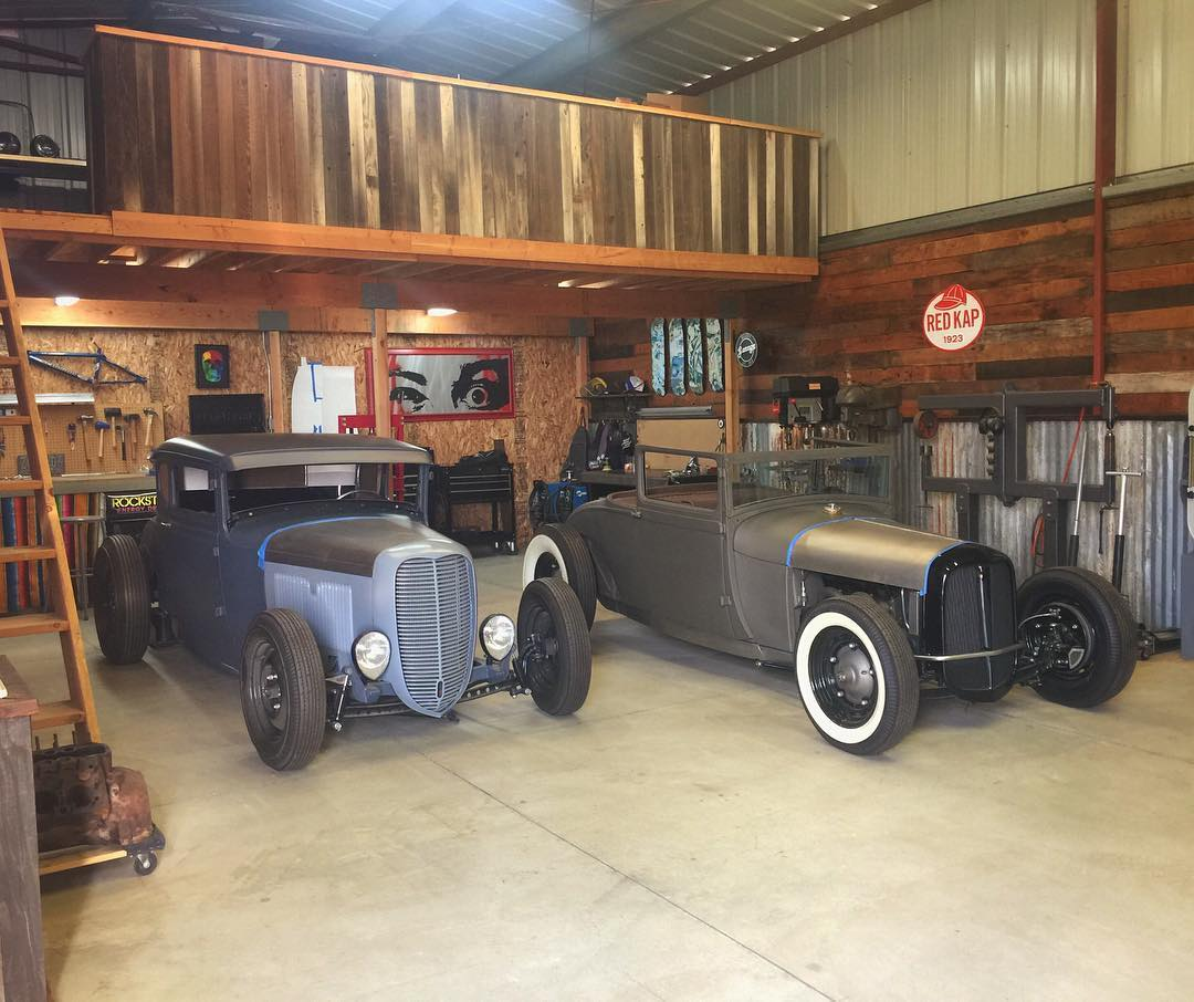 Stopped by our buddy @heathpinter's shop to check out his current Model A hot rod builds (and backyard BMX dirt jumps). Can't wait to see what he cooks up for @theraceofgentlemen this year.