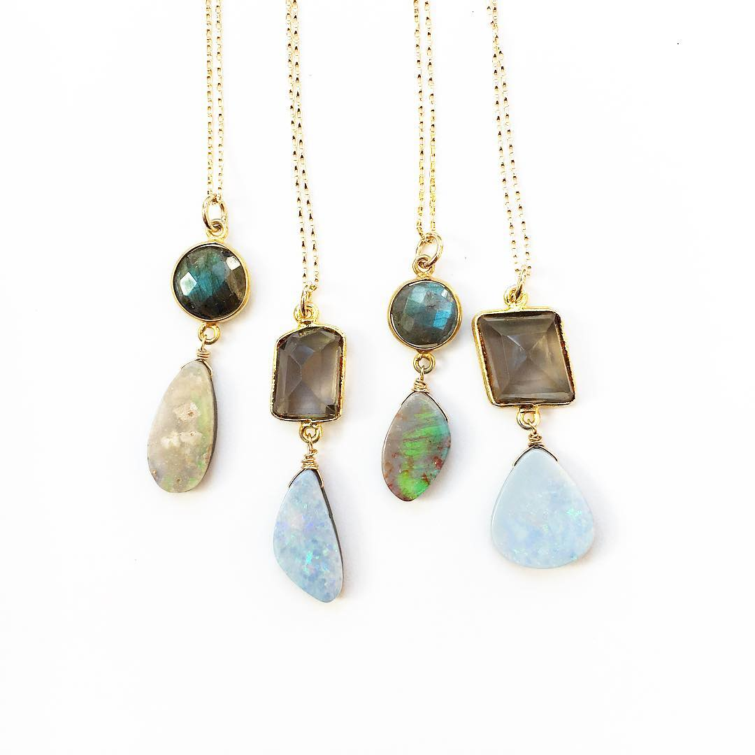 "One-of-a-kinds available! Mix and match Australian Boulder Opal paired with Labradorite and Smokey Quartz!  Email me for more info! Info@juliaszendrei.com  New chain and 20"" length! #todiefor #ultimatestyle #influencer #makersgonnamake #studio..."