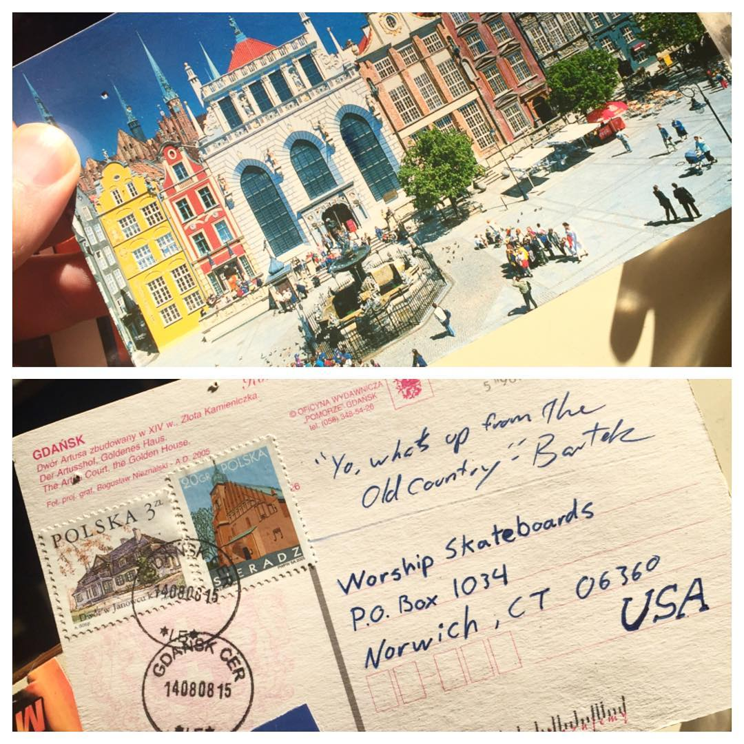 We love our friends. #worldtraveler @bartekpintofwhisky #gdansk #postcard #contest  Send us a postcard... Best one gets a package. Mail to: Worship skateboards Po Box 1034 Norwich Ct 06360. Contest ends April 28th.... it can be from anywhere !!!! Write...