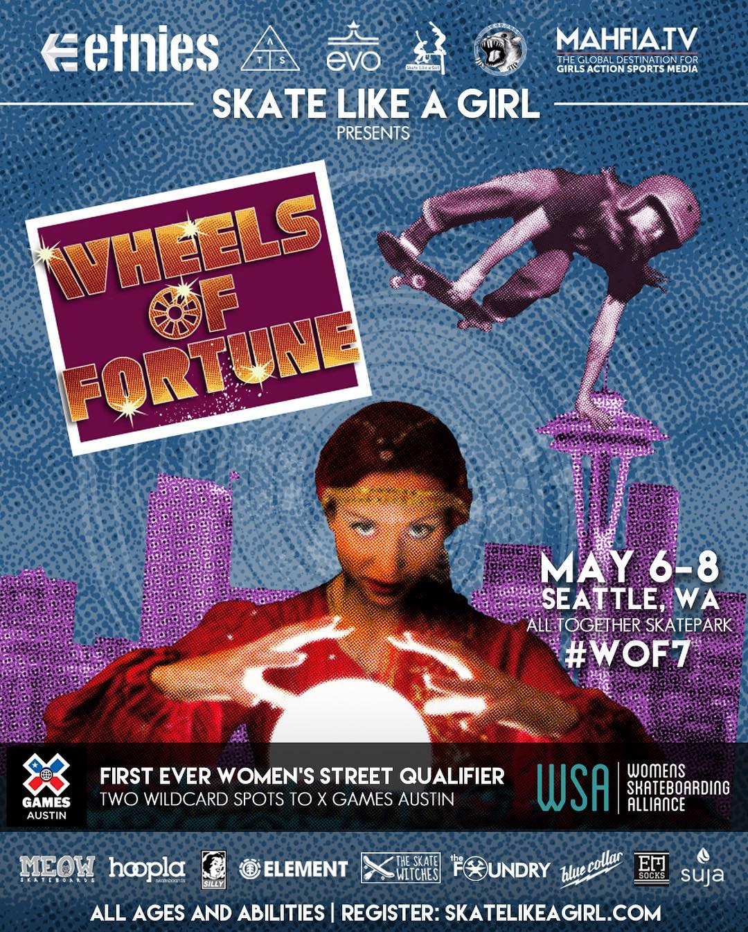 More history being made! @thealliance_wsa teams up @SkateLikeAGirl and #WOF7 to launch the first ever global women's skateboarding qualifier for @XGames Women's Street in Seattle! Registrations in skatelikeagirl.com  #skatelikeagirl #ladiesofshred...
