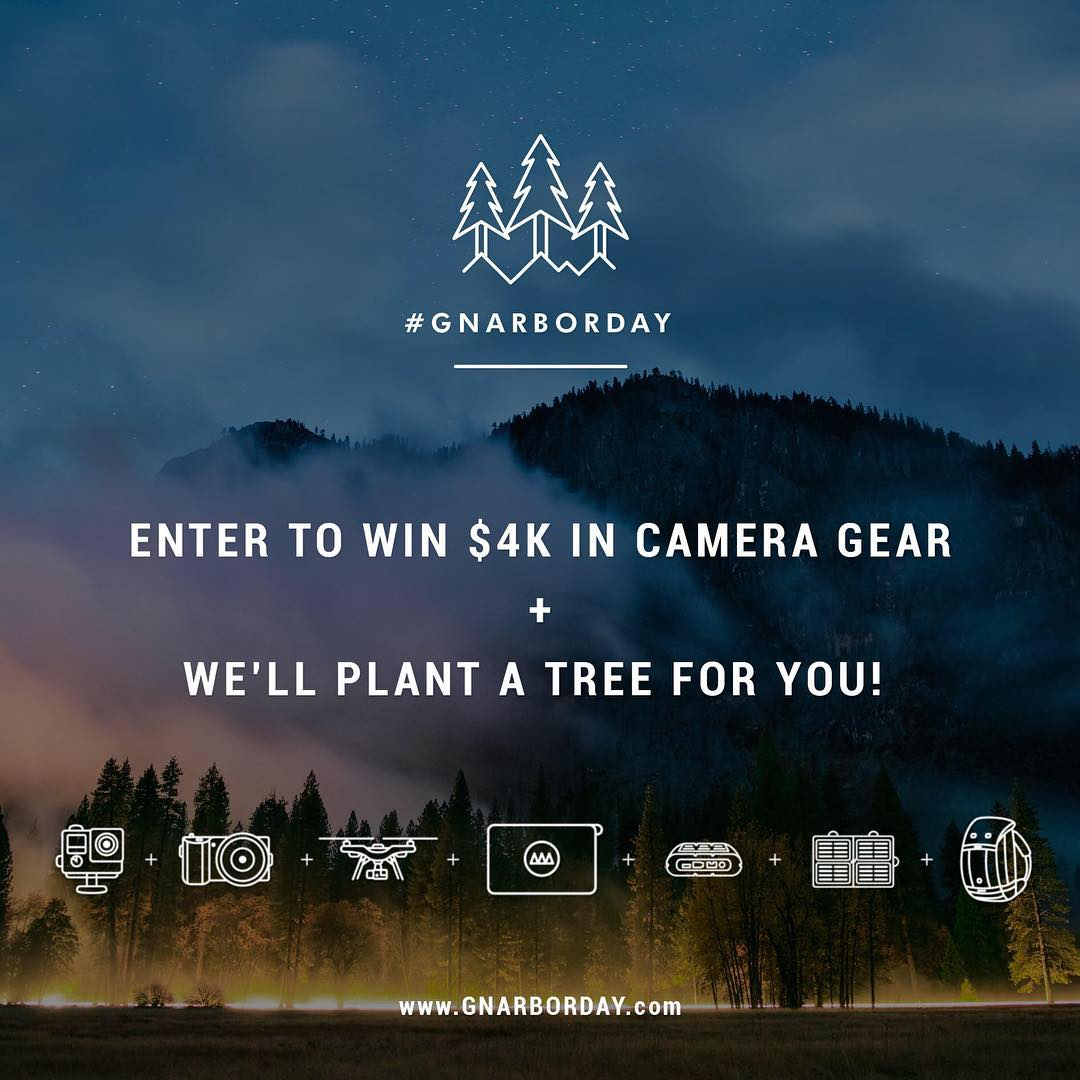 GoPole has teamed up with GNARBOX for #GNARBORDAY. Enter to win $4k in camera gear + we'll plant a tree for you! Follow @GNARBOX and click the link in their bio to enter! #gnarbox #gopole