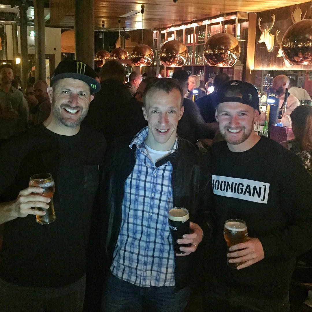 When in Ireland: have adult beverages (obviously) with the local rally talent/great friend/WRC driver Mr. @KrisMeeke, along with my new teammate @AndreasBakkerud. Ha. Great times so far here in Belfast! #rawtalent #rallybros