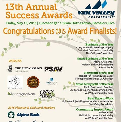 "@sosoutreach is a finalist for the #Vail Valley Partnerships Success Awards! It is an #honor to be in the running for ""Nonprofit of the Year"" with such high caliber organizations as @habitatforhumanity and Mind Springs #Health. Good luck to all of the..."