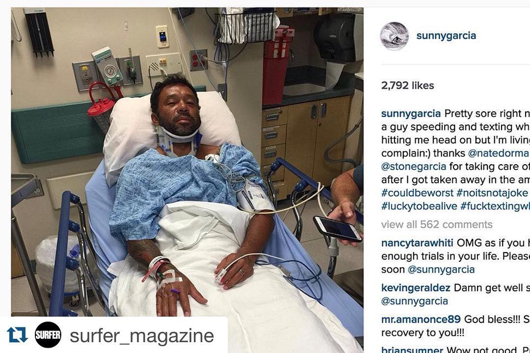 Kids dont text while driving. Sunny Was hit by a driver who Was texting #Repost @surfer_magazine with @repostapp. ・・・ Wishing for a quick recovery for @sunnygarcia after a texting driver reportedly crashed head-on into his car on Friday. Read more at...