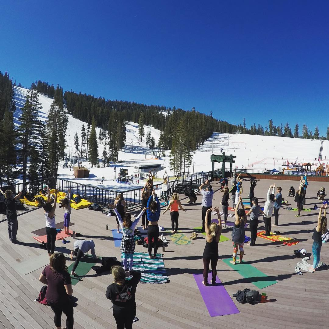 It's a beautiful morning at @sierra_at_tahoe! We're kicking off the Snowboard +Music Festival with 108 Sun Salutations led by @megsporcheron, @sherrymcconkey and @jamieanderson, and an all-star athlete group of participants this morning! Why 108? To...