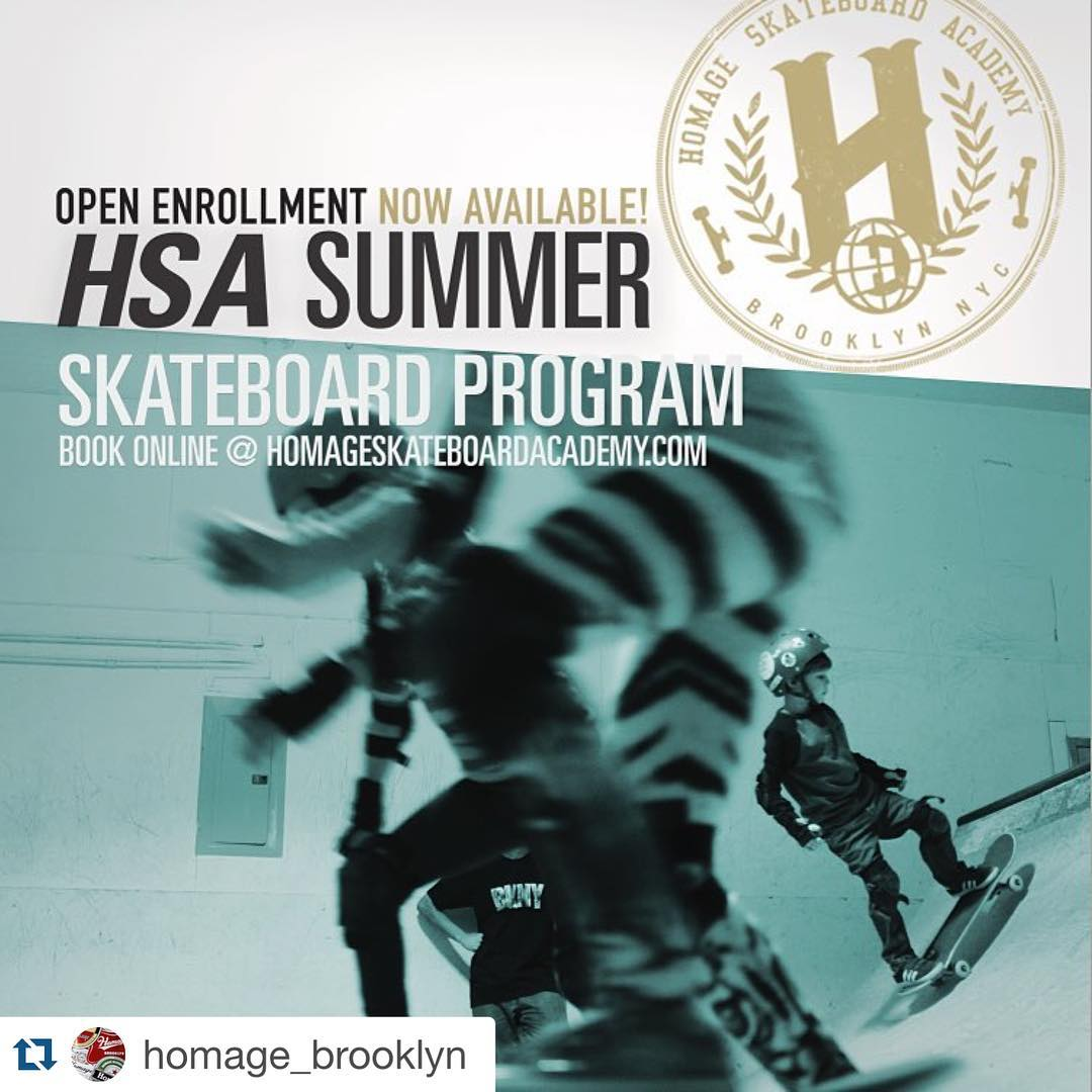 Open enrollment now available for the summer skateboard program. Just  go to www.homageskateboardacademy.com  #learntoskate #homagebrooklyn #thankyouskateboarding #nyskateboarding #skateboardlessons #brooklyn #nyc #skatelife #skateordie...