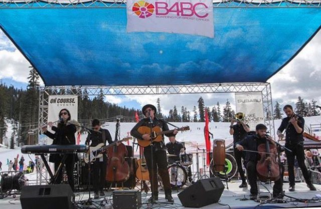 That's a wrap on the B4BC Snowboard + Music Festival today! Good music, good vibes, and good people today at @sierra_at_tahoe, all raising funds for a great cause. - Pictured: @thefamilycrest Photo: @matt_bombino #snowboardmusicfestival #b4bc20
