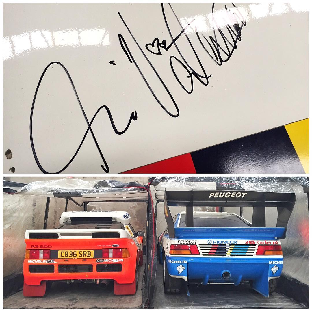 A couple of four-wheeled beauties in Enda Garvey's incredible collection (that we visited yesterday in N. Ireland): a beautiful Ford RS200 rally car and Ari Vatanen's Pikes Peak winning car - complete with Ari's signature on the roof! So epic seeing...