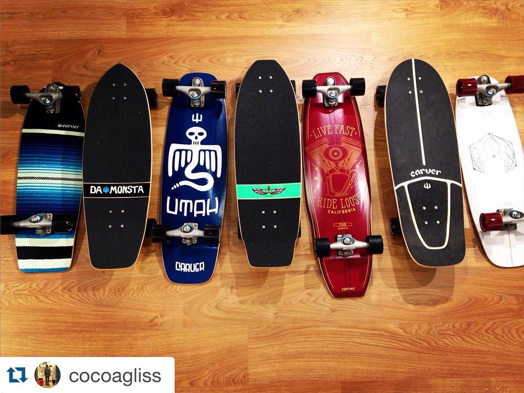#Repost @cocoagliss with @repostapp. ・・・ #carverskateboatds are still the best #skateboards to #surf the bitume