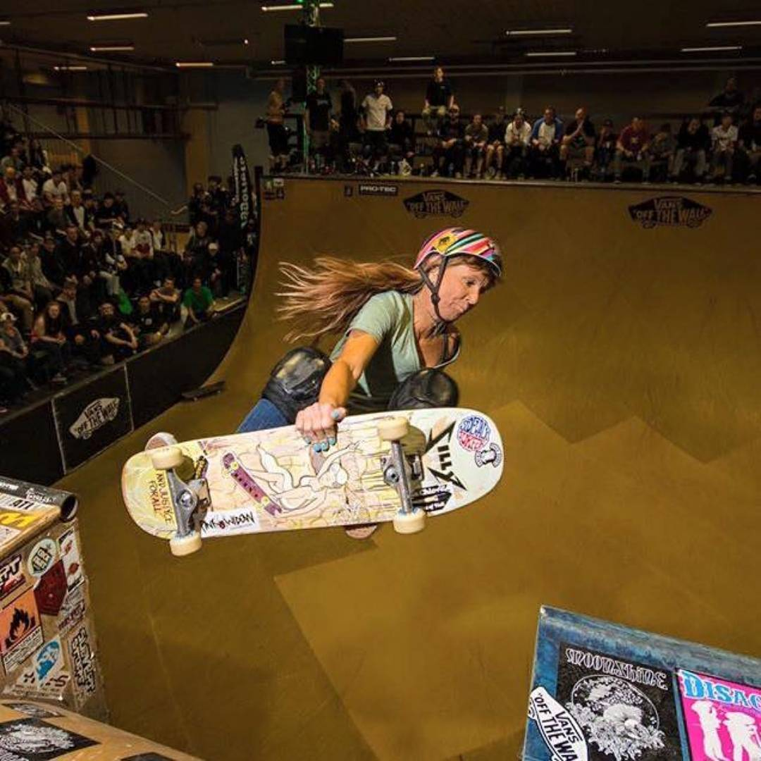 "Repost from @sillygirlskateboards ! ""Congrats @calamity_jean for being the first woman to compete in the ‪#‎vertattack‬ masters division!"" Photo by @bjornhandell"